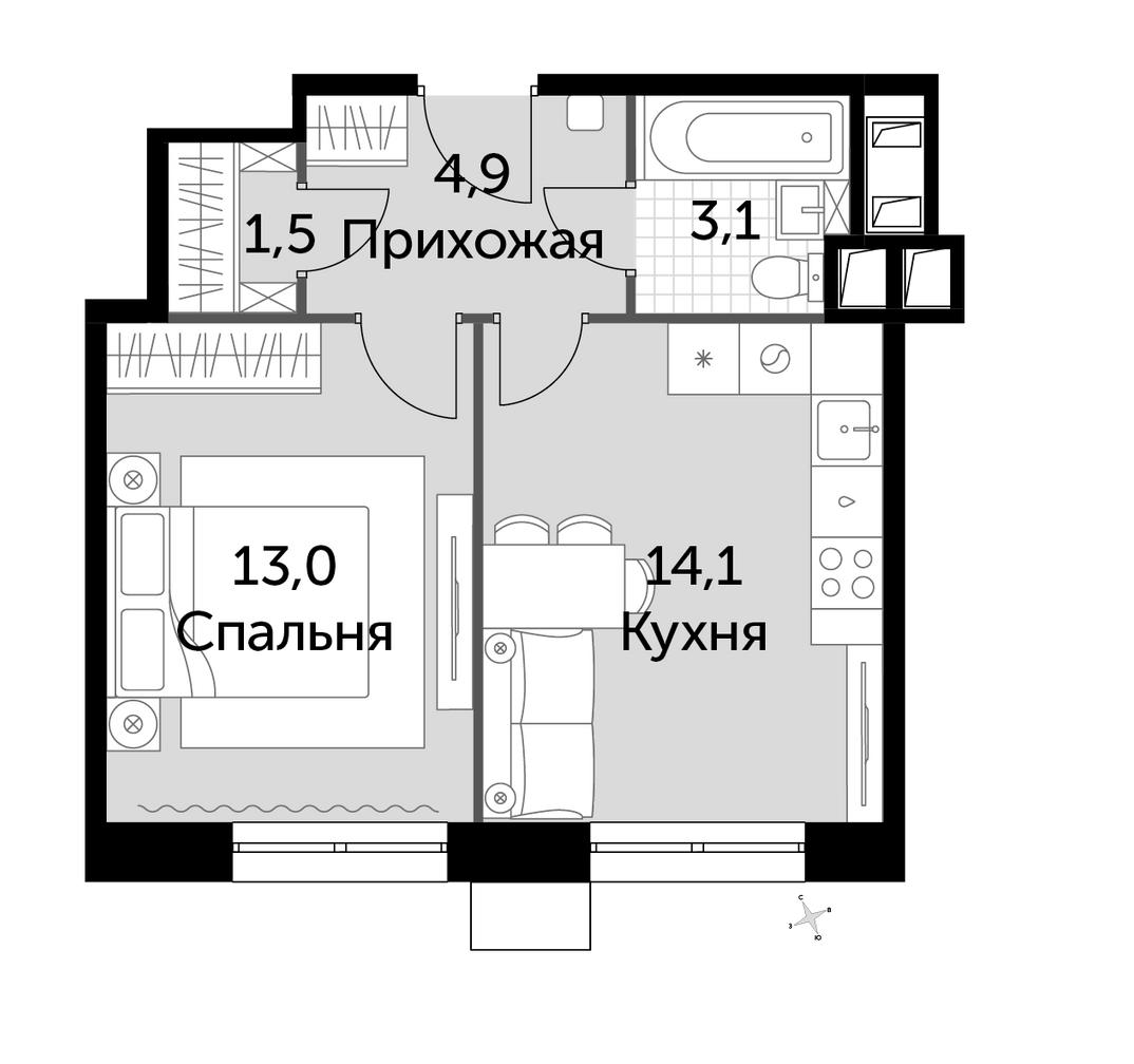 Продажа 1-комнатной новостройки, Москва, ш. Волоколамское,  69